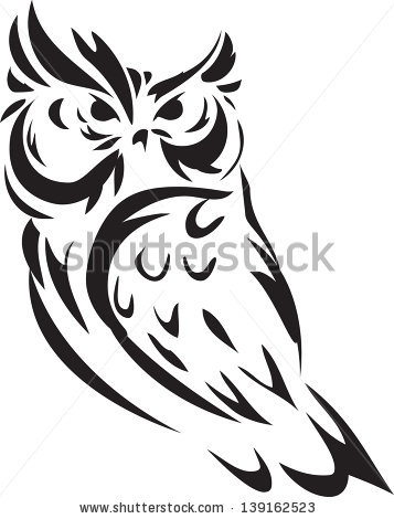 Black Outline Owl Tattoo Design