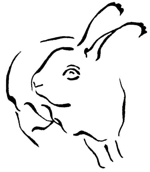Black Outline Rabbit Tattoo Design