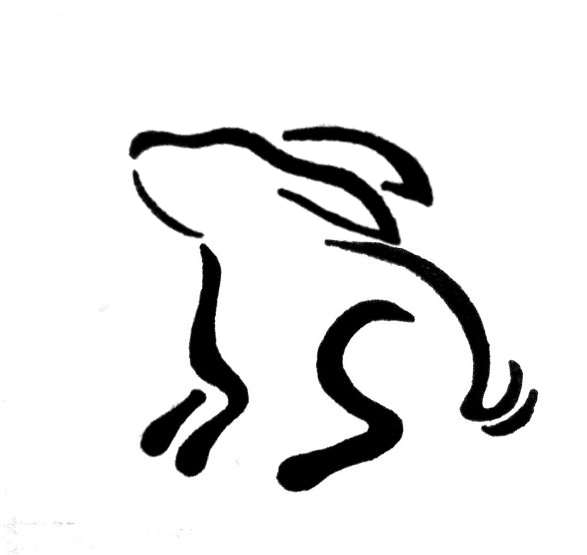 Black Outline Rabbit Tattoo Sample