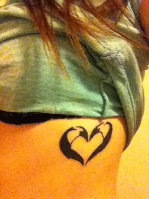 Black Penguins Heart Tattoo