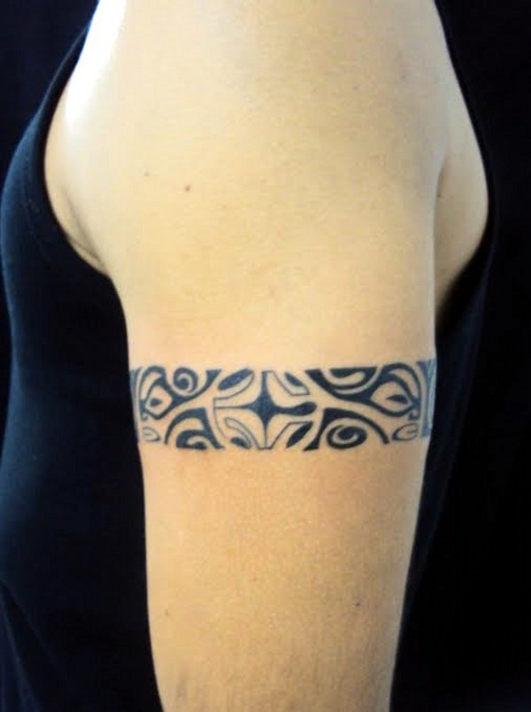 Black Polynesian Armband Tattoo