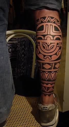 Black Polynesian Calf Tattoos