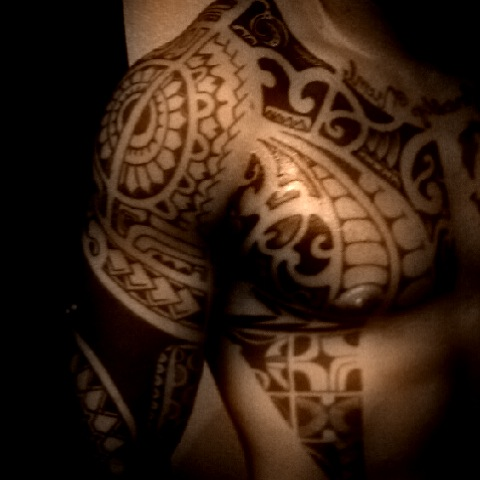 Black Polynesian Chest Tattoos