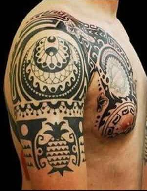 Black Polynesian Half Sleeve And Chest Tattoos