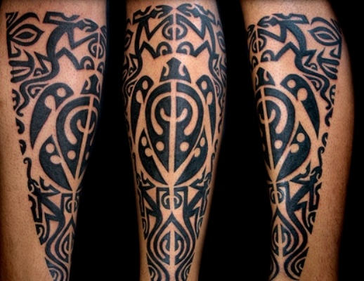 Black Polynesian Leg Tattoos
