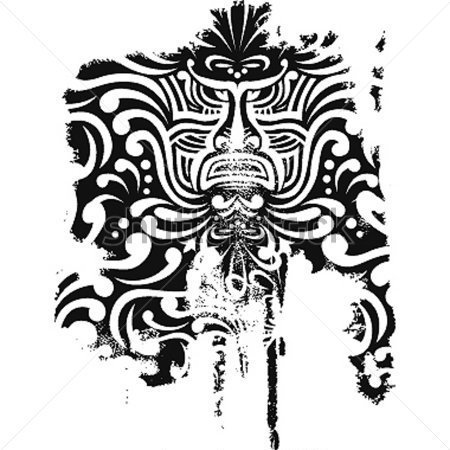 Black Polynesian Mask Tattoo Design