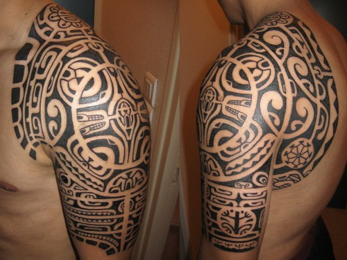Black Polynesian Shoulder Tattoos