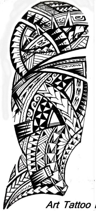 Black Polynesian Sleeve Tattoo Art Photo