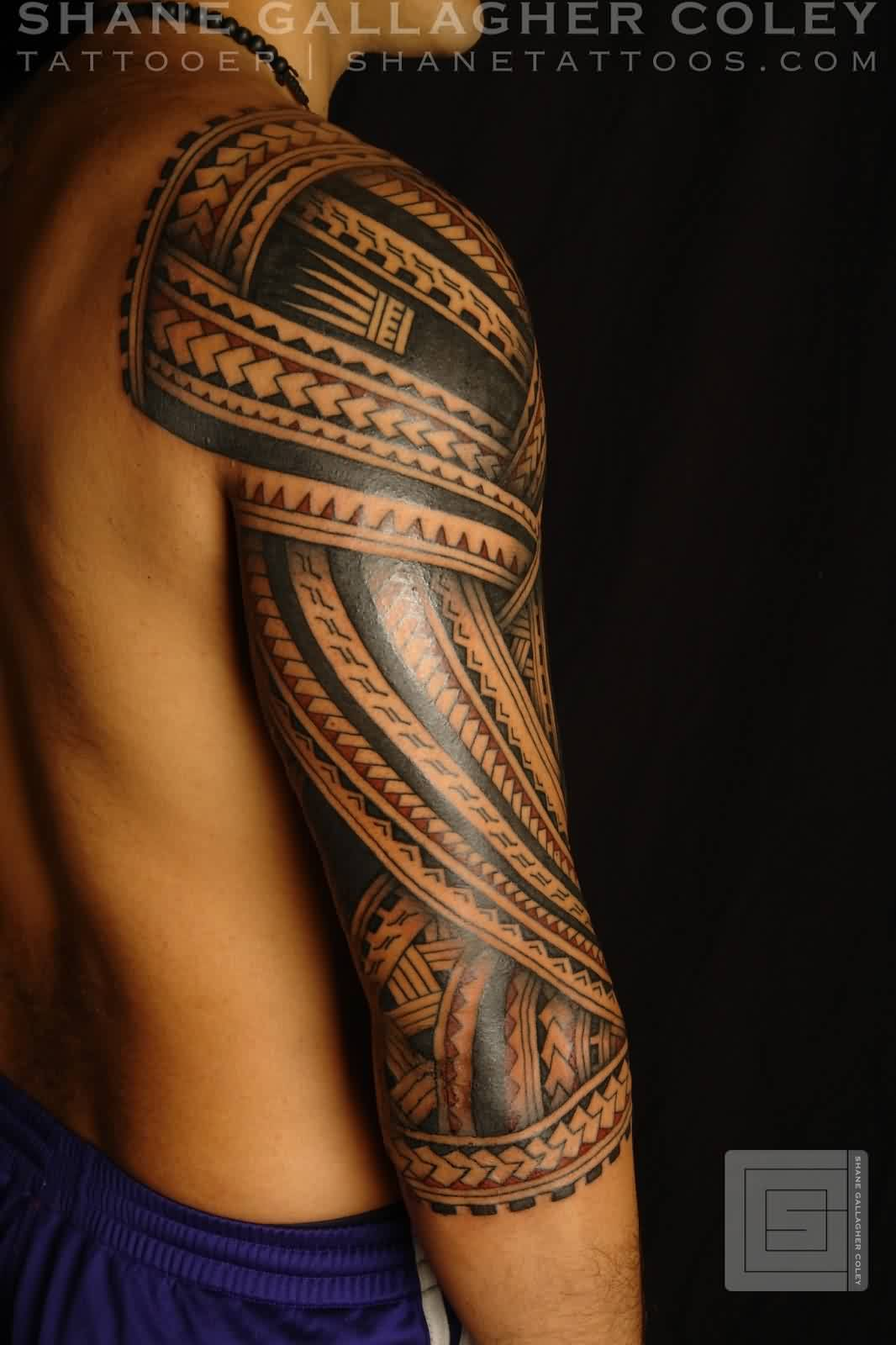 Black Polynesian Sleeve Tattoo Style For Boys