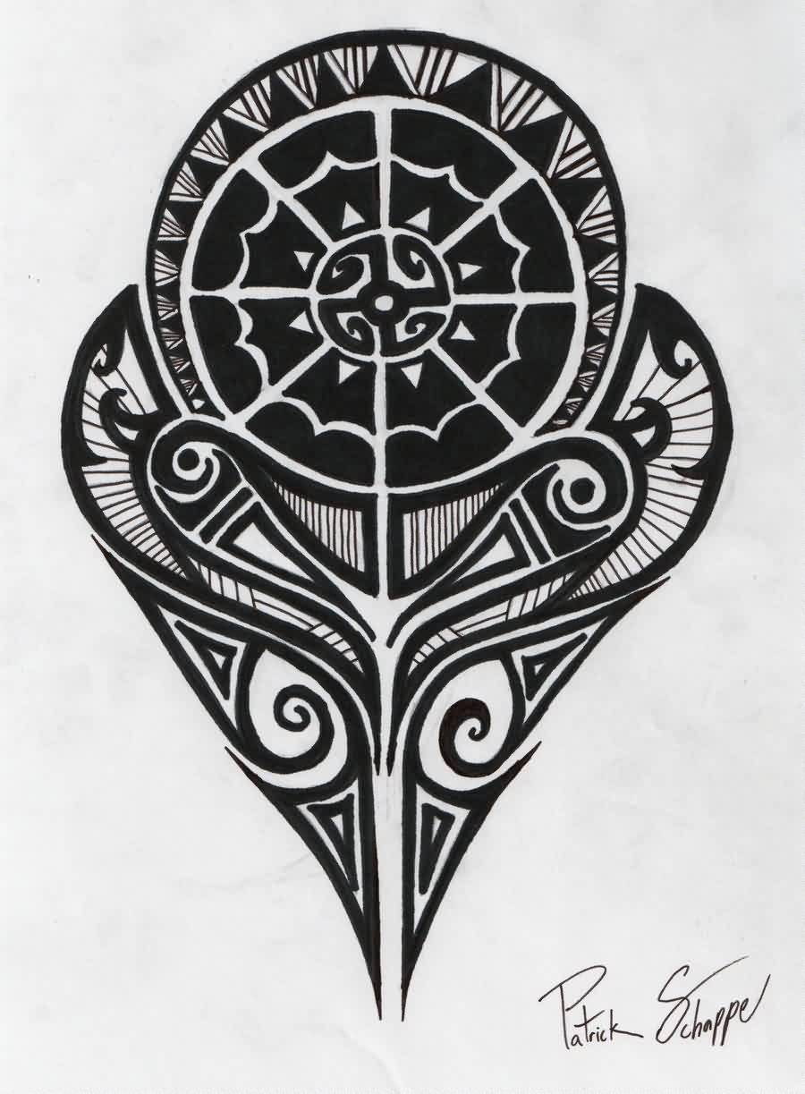 Black Polynesian Strength Tattoo Design