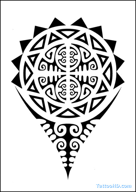 Black Polynesian Sun Tattoo Design