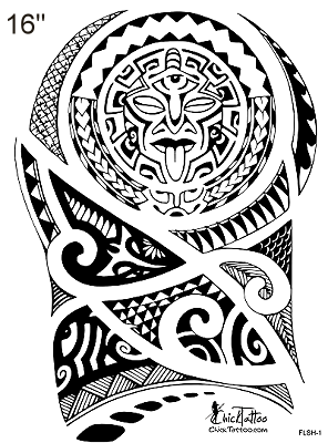 Black Polynesian Tattoo Design For Shoulder