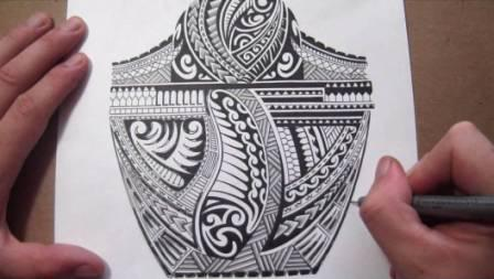 Black Polynesian Tattoo Design On Page
