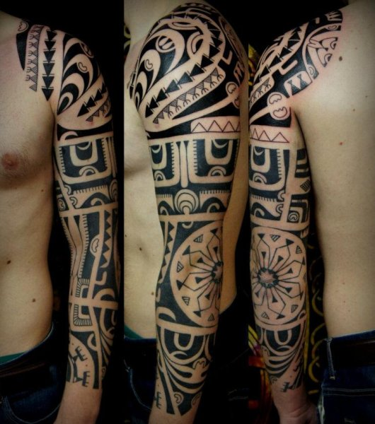 Black Polynesian Tattoo For Sleeve