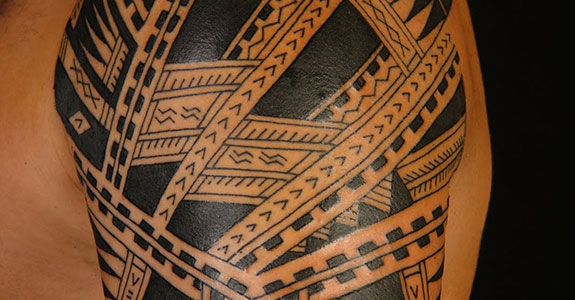 Black Polynesian Tattoo On Arm