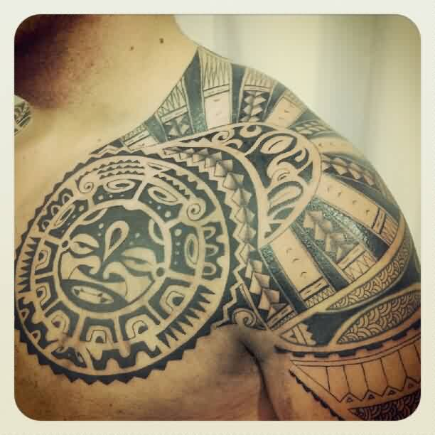 Black Polynesian Tattoo On Chest