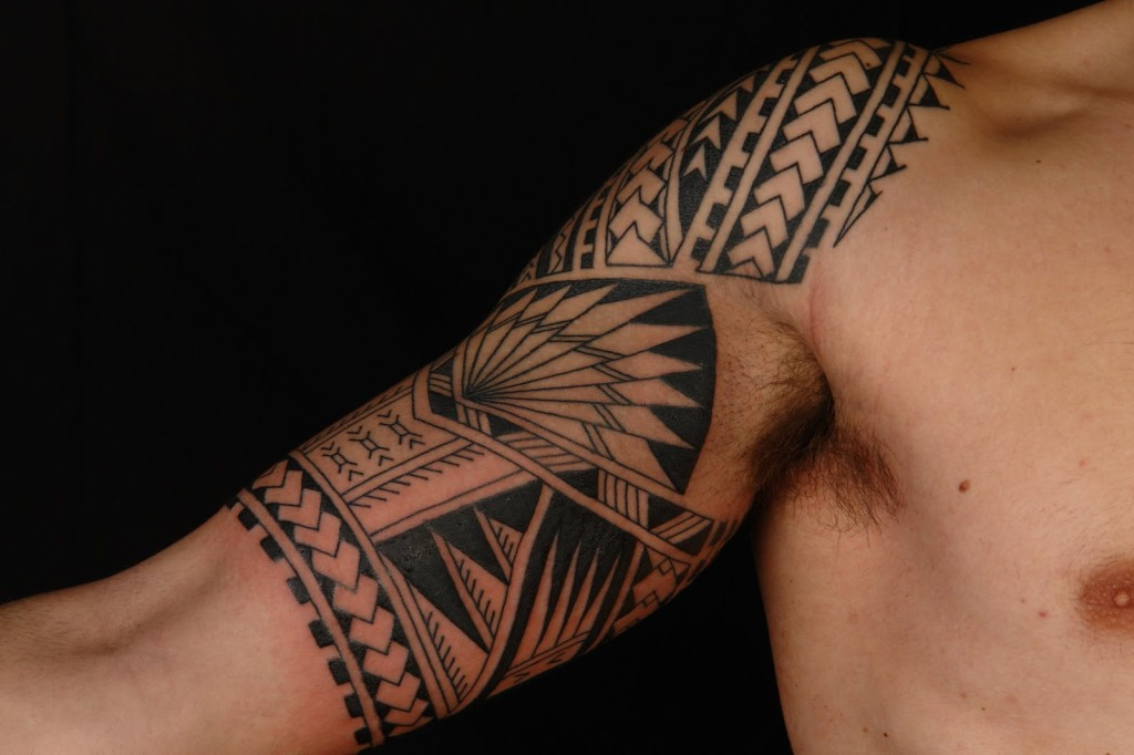Black Polynesian Tattoo On Half Sleeve