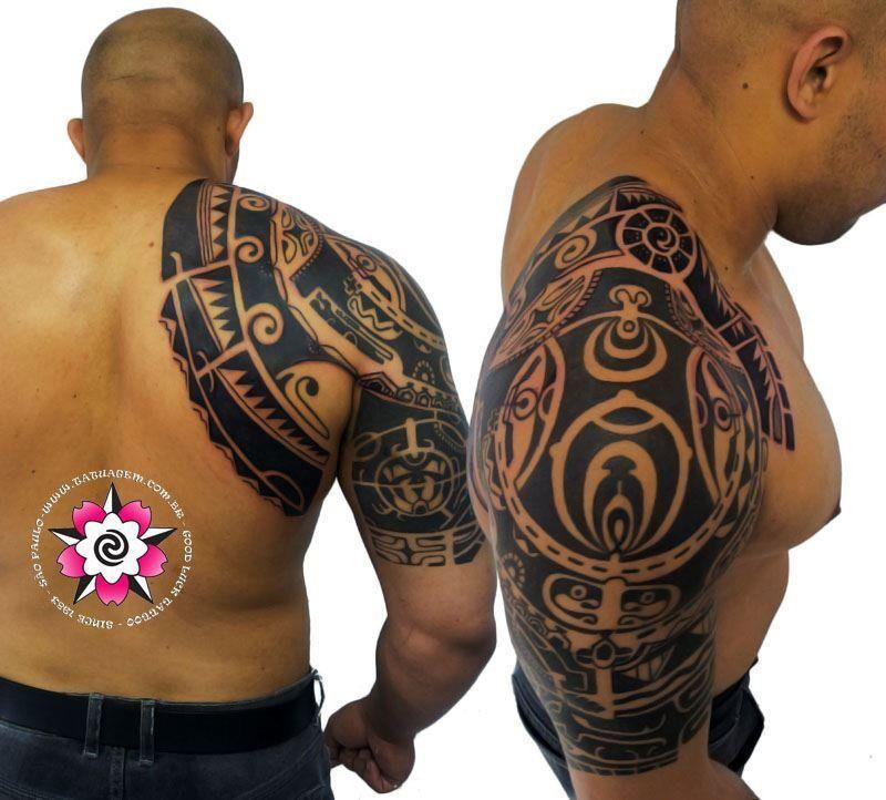 Great Black Polynesian Tattoo On Half Sleeve