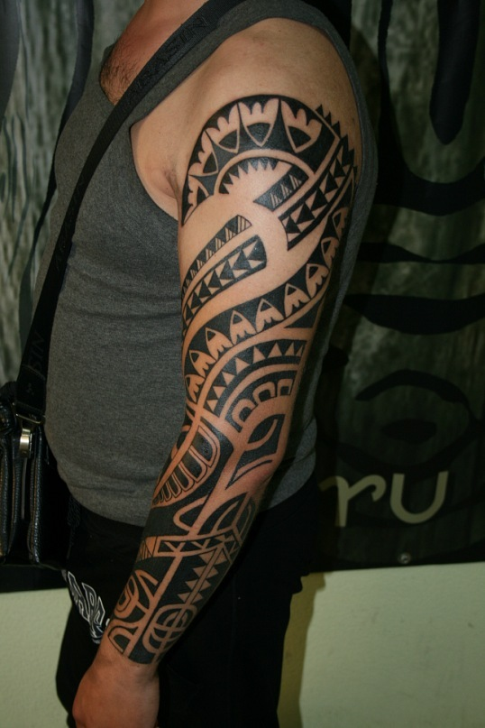 Black Polynesian Tattoo On Left Sleeve
