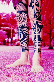 Black Polynesian Tattoos On Both Legs