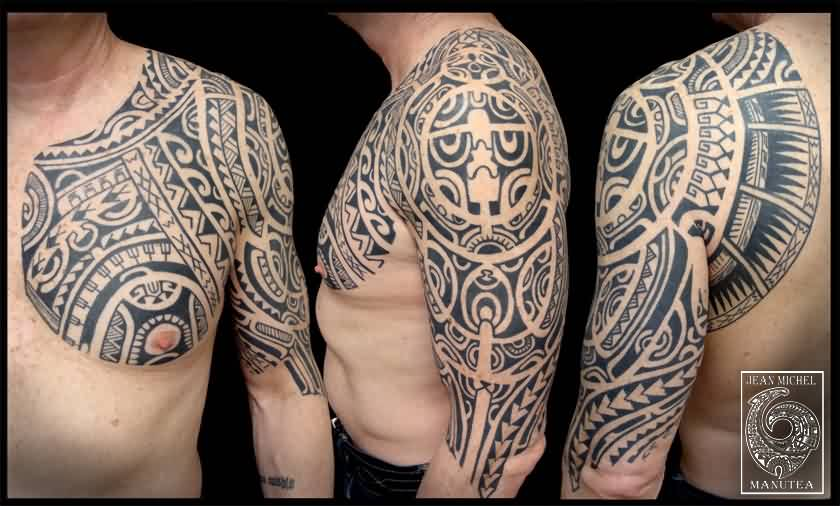 Black Polynesian Tattoos On Chest And Half Sleeve