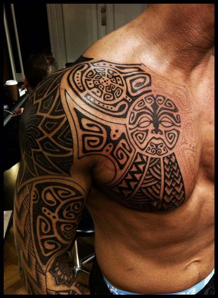 Black Polynesian Tattoos On Chest And Right Sleeve