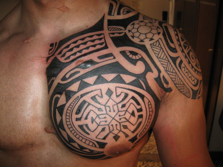 New Black Polynesian Tattoos On Chest