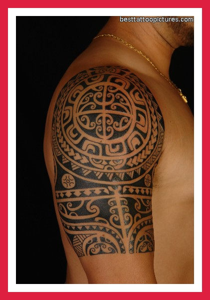 Black Polynesian Tattoos On Half Sleeve