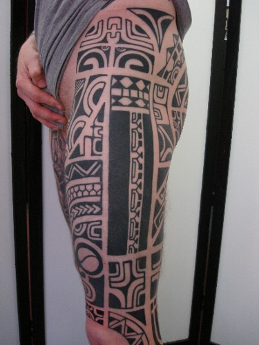 Black Polynesian Tattoos On Left Leg