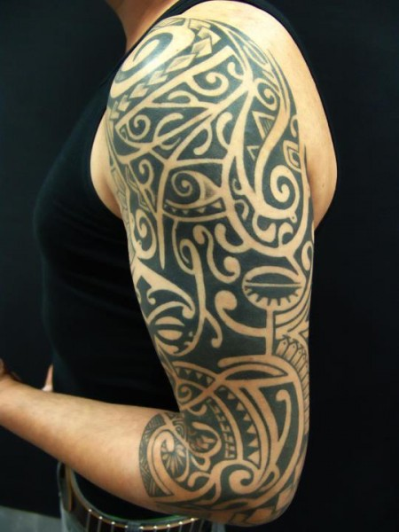 Black Polynesian Tattoos On Left Sleeve