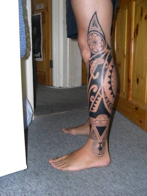 Black Polynesian Tattoos On Leg