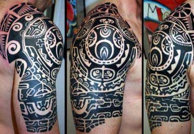Black Polynesian Tattoos On Right Half Sleeve