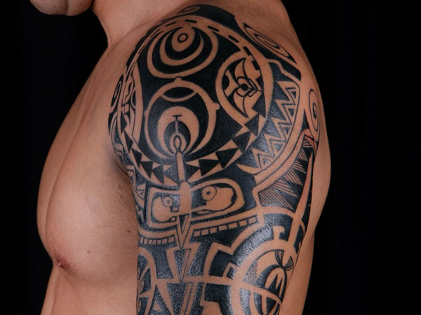Black Polynesian Tattoos On Shoulder