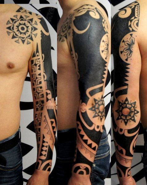 Black Polynesian Tattoos On Sleeve