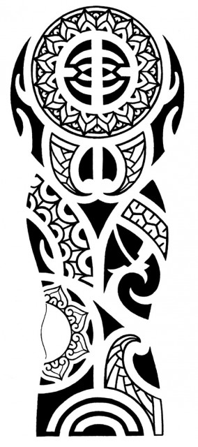 Black Polynesian Tribal Tattoo Design