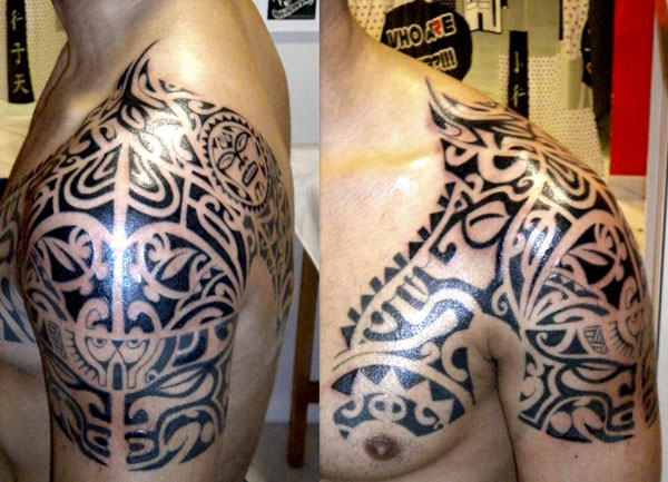 Black Polynesian Tribal Tattoos On Shoulder And Chest
