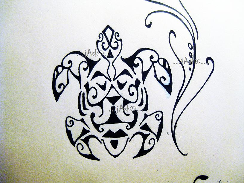 Black Polynesian Turtle Tattoo Design