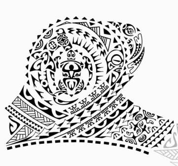 Black Polynesian Turtle Tattoo Designs