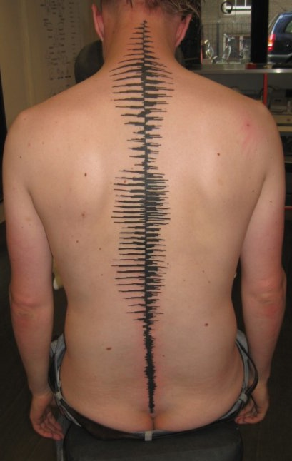 Black Sound Waves Tattoos On The Spine