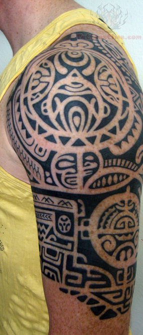 Black Tiki Polynesian Tattoos On Half Sleeve