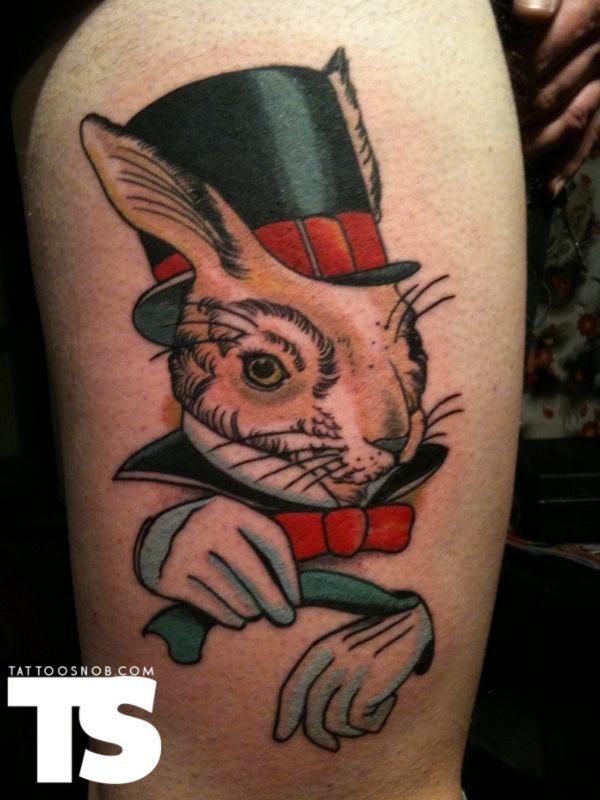 Black Tophat Rabbit Tattoo