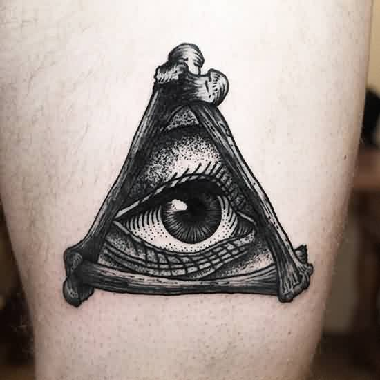 Black Triangle Eye Tattoo