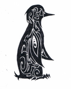 Black Tribal Penguin Tattoo Stencil