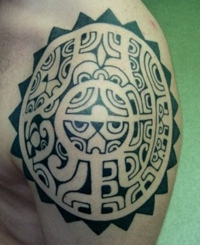 Black Tribal Polynesian Tattoo On Shoulder