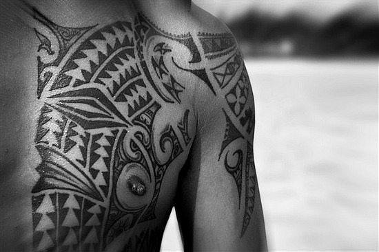 Black Tribal Polynesian Tattoos On Chest