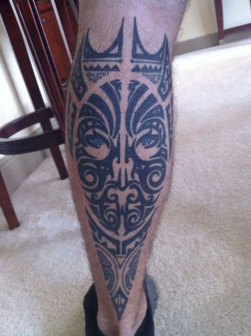 Black Tribal Polynesian Tattoos On Leg