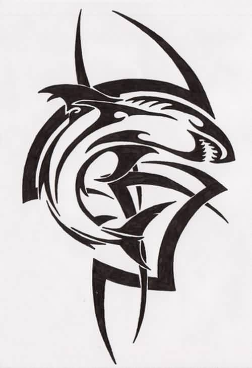 Black Tribal Shark Tattoo Design