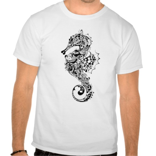 Black White Seahorse Tattoo Style Shirt