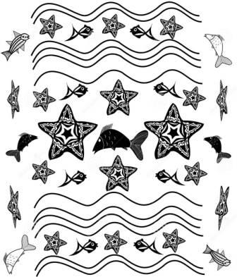 Black White Starfish Waves Tattoos Set