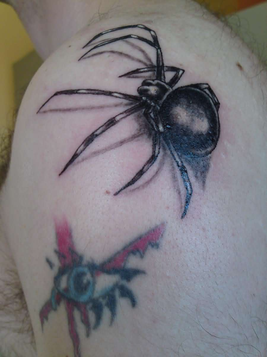 Black Widow Spider 3D Tattoo For Men